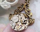 Vines Steampunk necklace, steampunk jewelry, steampunk pendant, vintage watch jewelry, steampunk jewellery