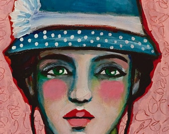 Janie and Her Polka Dots - Original Portrait Painting