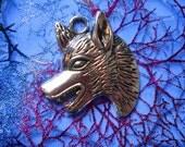 4 Fierce WOLF or FOX head talisman charms or pendants - amulet - silvertone metal alloy trinkets - focals