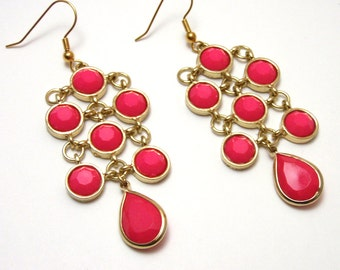 Hot Pink and Gold Chandelier Earrings - Acrylic opaque pink rhinestones in gold settings