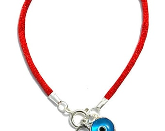 Boy Sterling Silver Charm & Glass Evil Eye Charm on Red Silk String Bracelet - Handmade