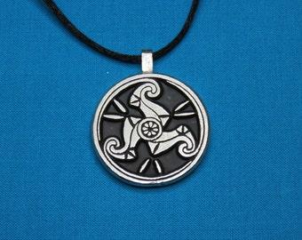 Large Pictish Spiral Designed Pendant Designed Pendant in Silver Pewter, Handmade, Handcast STK032