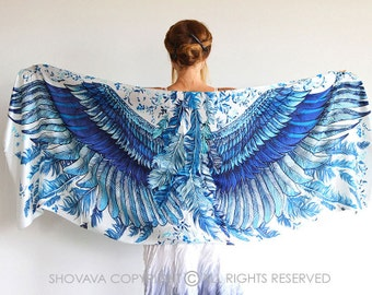 Sarong Wrap Scarf, Silk Scarf, Summer Scarf, Long Scarf, Nursing Scarf, Wings Shawl, Oversized Scarf, Art Scarf, Wings on Wraps