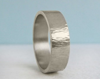 1.8mm x 7mm Men's White Gold Wedding Band | Rustic Tree Bark Hammer Texture| 1.8mm Thick Flat Band | Recycled 14k 18k White Gold