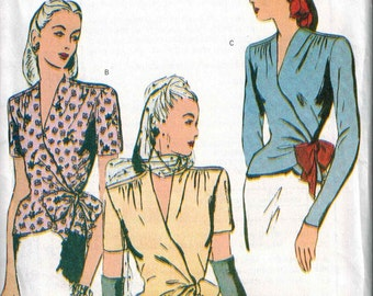 OOP Butterick 6700 Retro Wrap Top Gathered Shoulders Pattern 1944 Sizes 18-20-22 Reissue GORGEOUS