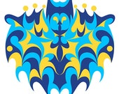 Bat Daddy. Cross Stitch pattern, Digital Download PDF. Geometric design of a bat. Metaphysical and whimsical.