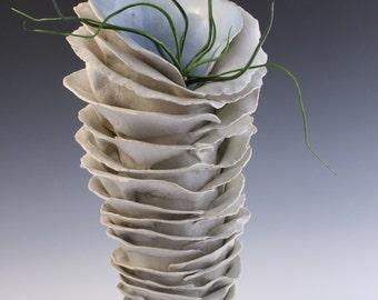 SALE. Natural Porcelain ceramic white sculpture. Large statement vase, functional art by Chelsea Mae