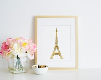 Eiffel Tower Print, Gold Paris Home Decor Wall Art in Digital Printable Instant Download great in Pink Gold Nursery and Photography Poster