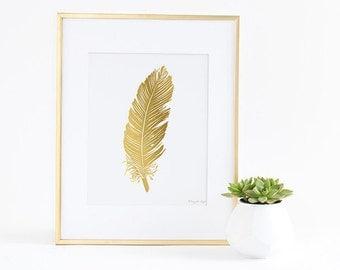 FeatherPrint, Feather Art Print, Printable Feather, Gold Feather, Office Decor, Home Decor, Feather Print, Nursery Art, Gold Nursery