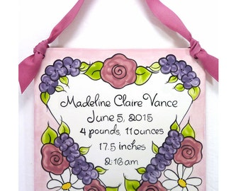 """Personalized Birth Announcement 8"""" Plaque - Heart with Flowers Design"""