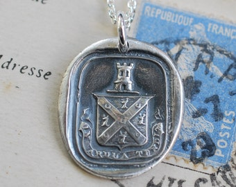 castle tower family crest wax seal necklace - in ardua tendit - In High Aims - Scottish armorial wax seal jewelry - family name Malcolm