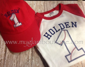 Raglan Tee and Baseball Hat Set - Great for 1st Birthday's or any Year Birthday