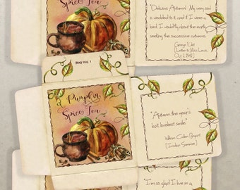 Printable Autumn Fall DIY Food Gift Packaging Kit Pumpkin Spice Latte Printable Recipe Card Tea Bag  Envelopes Hostess Gift Instant Download