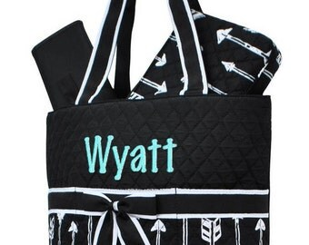 Personalized Diaper Bag Black White Arrow Quilted Monogrammed