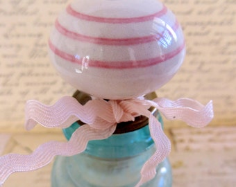 Wine Bottle Stopper, Ceramic With Horizontal Pink Stripes, Wine Gift