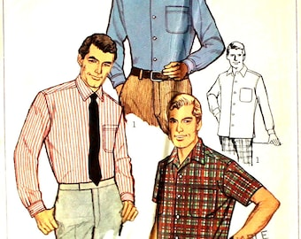 Men's Tapered Sport Shirt Size 15 1/2 Chest 40 Simplicity 7745 Sewing Pattern