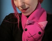 Animal Scarf, Extra Long Dark Pink Kitty