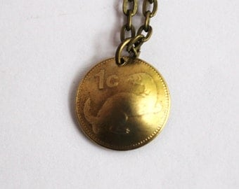 Domed Coin Necklace, Malta, 1991, Maltese Weasel Animal Pendant, 1 Cent, Jewelry by Hendywood