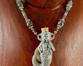 Raku Mermaid Vessel Pendant Necklace