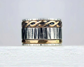 Hammered Silver and Gold Stacking Rings, Mixed Metal Stackable Rings, Variety of Textures