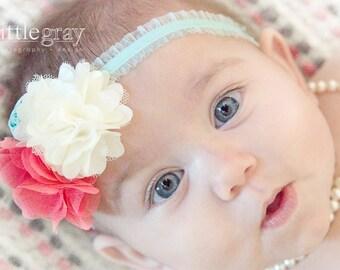 Coral Baby Headband - Infant Coral and Aqua Headband - Aqua Blue Headband - Girl Headband - Photography Prop