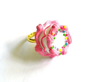 Pink Birthday Cake Ring Pink Cake Ring Kawaii Jewelry Birthday Jewelry Rainbow Cake Ring - Miniature Food Jewelry