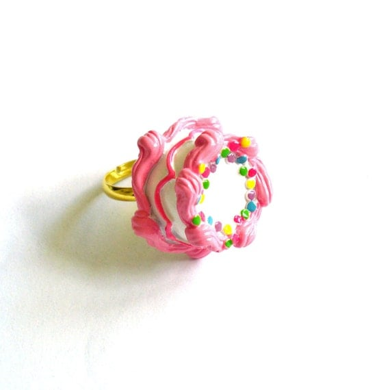 Pink Birthday Cake Ring Pink Cake Ring Kawaii Jewelry Birthday