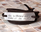 Wrap Bracelet, she believed she could so she did, Inspirational Bracelet, Hand Stamped Jewelry, Hand Stamped Bracelet, Graduation Gift