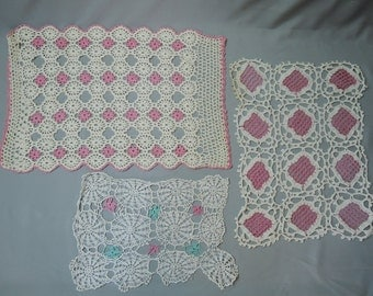 5 Vintage Crochet Doilies, Pink, Aqua and Orange,  Handmade, some flaws, As-Is