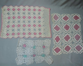 5 Crochet Doilies, Pink, Aqua and Orange, Vintage Home 1960s, Handmade, some flaws, As-Is
