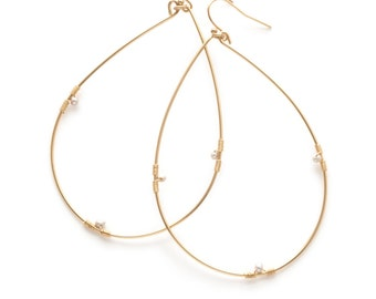 Gold Fill Hoop Earrings, Pearl Hoop Earrings, Large Pearl Hoop Earrings