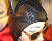 RESERVED for DANIELLA TIRANNO/ Arkham- Style Catwoman Aviator Hat in Black Leather