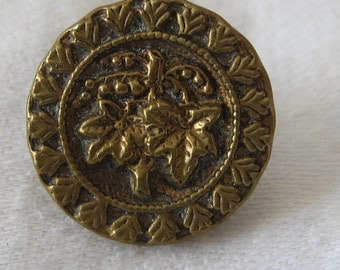ANTIQUE Small Grape Cluster Metal BUTTON
