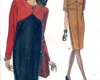 Vogue 8478 Easy Color Blocked Tapered Sheath Pullover Dress Size 14 16 18 Uncut Vintage Sewing Pattern 1992