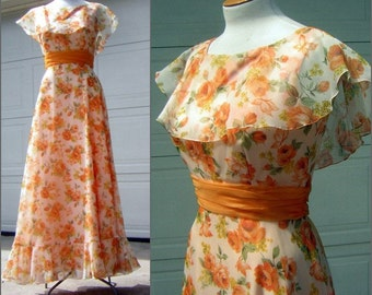 Vintage Maxi Dress Party Prom Gown 1970s Orange Apricot Rose Print - New Old Stock with Tags - Size 12