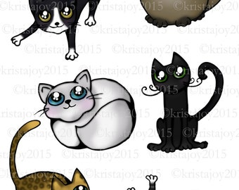 Fancy Cats Hand Drawn Instant Digital Download Flash Sheet Collage