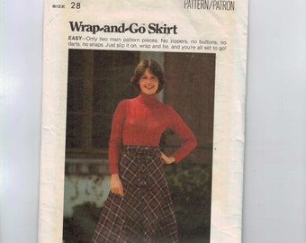 1970s Vintage Sewing Pattern Butterick 5026 Misses Easy Wrap and Go Skirt Size 14 Bust 36 Waist 28 70s