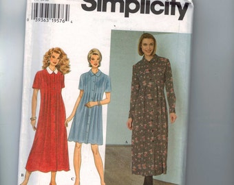Misses Sewing Pattern Simplicity 7388 Misses and Petite Pleated Dress Size 6 8 10 Bust 30 1/2 31 1/2 32 1/2 UNCUT 1990s 90s  99