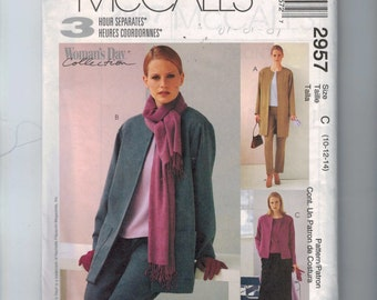 Misses Sewing Pattern McCalls 2957 Misses and Petite Unlined Jacket Top Pants Skirt Size 10 12 14 Bust 32 33 34 36 UNCUT