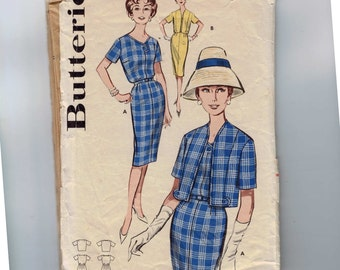 1950s Vintage Sewing Pattern Butterick 9698 Misses Sheath Dress and Jacket Slim Size 16 Bust 36 50s  99
