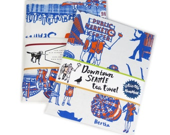 Downtown Seattle Retro Toile Neighborhood Tea Towel White Flour Sack 100% Cotton