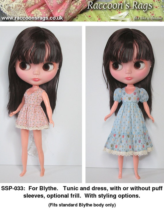 STRAIGHTFORWARD SEWING Pattern- SSP-033: Tunic and dress set with styling options for standard Blythe.