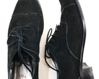 Sz | vintage black suede oxfords lace up flats shoes 8
