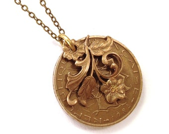 French franc flower coin necklace, vintage franc, 1984