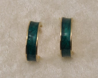Gold Tone Green Enamel Hoop Pierced Earrings Mothers Day Birthday Gift