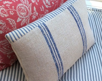 GrainSacK French Blue Stripe Pillow, Down Feather, Rustic, French CoTTagE, SHaBBy CHiC, Farmhouse, Urban, Loft, Industrial, Throw Pillow
