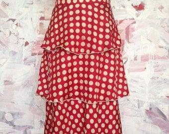 Red and White Polka Dot Ruffle Skirt