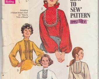 "Vintage Sewing Pattern 1970's Misses Blouses Simplicity 8416 34"" Bust- Free Pattern Grading E-book Included"