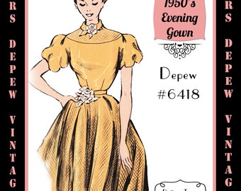 Vintage Sewing Pattern 1950's Ladies' Evening Gown in Any Size - PLUS Size Included - Depew 6418-INSTANT DOWNLOAD-