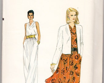 """Vintage Sewing Pattern 1980's Ladies' Evening Dress & Jacket Vogue 8349 34-38"""" Bust - With FREE Pattern Grading E-book"""